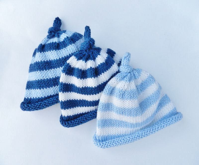 Knit baby hat - Newborn baby stripped hat - Navy blu - Light blue - White 2b4ef902c5d